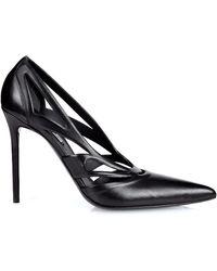 Balenciaga Spider Laser-Cut Leather Court Shoes - Black