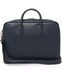 Valextra My Logo Pebbled-leather Briefcase - Blue