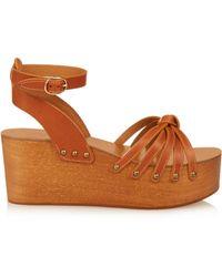 Isabel Marant Zia Wooden Flatform Sandals - Brown