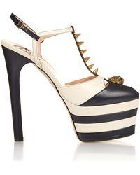 Gucci Angel Spike-embellished Leather Platform Sandals - Black