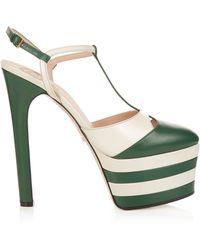 Gucci - Angel Leather Striped Platform Sandals - Lyst