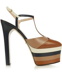 de13781e9d Gucci - Angel Leather Striped Platform Sandals - Lyst