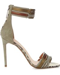 Peter Pilotto - Geometric Ankle-strap Suede Sandals - Lyst
