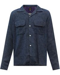 Needles キューバンカラー ポルカドットジャカードシャツ - ブルー