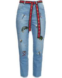 MUVEIL Embellished Boyfriend Jeans - Blue