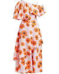Vika Gazinskaya One-shoulder Floral Fil-coupé Crepe Midi Dress - Orange