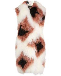 Fendi Wide-Collar Lamb-Fur and Shearling Coat - Multicolor
