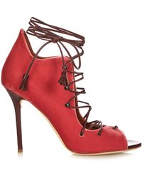 Malone Souliers Savannah Lace-up Velvet Sandals - Pink