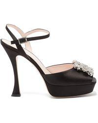 Roger Vivier Rv Bouquet Peep-toe Platform Satin Heels - Black