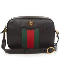 15b216b2044553 Gucci - Animalier Grained Leather Cross-Body Bag - Lyst