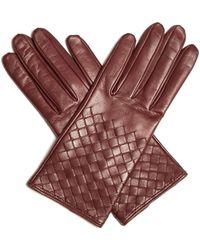 Bottega Veneta Intrecciato-leather Gloves - Brown