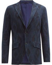 Etro ダイヤジャカード コットンブレンドツイードジャケット - ブルー