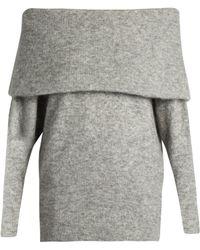 Acne Studios Daze Off-the-shoulder Knit Sweater - Gray
