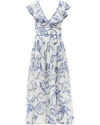 Le Sirenuse Frida Ruffled Floral-print Cotton Dress - Blue