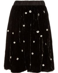 Jupe by Jackie - Fintan Embroidered Silk-velvet Skirt - Lyst