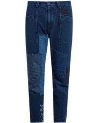 Blue Blue Japan Straight-leg Patchwork Cotton Trousers - Blue