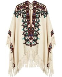 Figue - Haveli Embroidered Fringed Alpaca Cape - Lyst