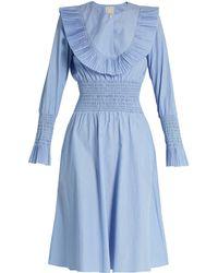Trademark   Pleated-bib Smocked Cotton-poplin Dress   Lyst