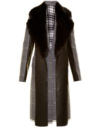 Calvin Klein - Leather-panel Checked Wool Coat - Lyst