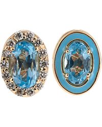 Alison Lou - Diamond, Topaz, Enamel & Yellow-gold Earrings - Lyst