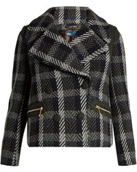 Kolor - Double-breasted Herringbone Wool-blend Coat - Lyst