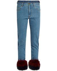 MUVEIL - Fur-panel Mid-rise Slim-leg Jeans - Lyst