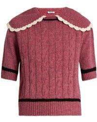 Miu Miu Cable-knit Wool Sweater - Blue