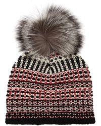 Diane von Furstenberg - Multiweave Pompom Hat - Lyst