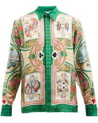 CASABLANCA カードプリント シルクツイルシャツ - グリーン