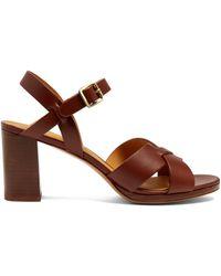 A.P.C. Opéra Block-heel Leather Sandals - Brown