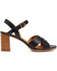 A.P.C. Opéra Block-heel Leather Sandals - Blue