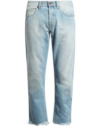 Off-White c/o Virgil Abloh Frayed Mid-rise Cropped Jeans - Multicolour