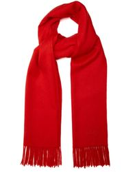 Mulberry Fringed Wool Scarf - Red