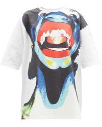 Charles Jeffrey LOVERBOY アブストラクトフェイス オーバーサイズコットンtシャツ - マルチカラー