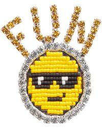 Shourouk - Emojibling Fun Smiley Face Brooch - Lyst