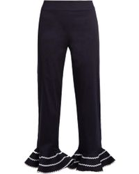 Anna October - Ric-rac Trimmed Flared-hem Cropped Trousers - Lyst