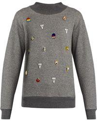 MUVEIL - Embellished Cotton-jersey Sweatshirt - Lyst