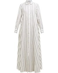 Palmer//Harding Robe-chemise en coton mélangé rayée Casablanca - Bleu