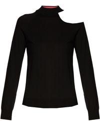 OSMAN Cut-out Shoulder Wool-knit Sweater - Black