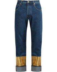 Loewe Printed-cuff Straight-leg Jeans - Blue
