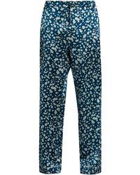 Meng Floral-print Silk-satin Pajama Pants - Blue