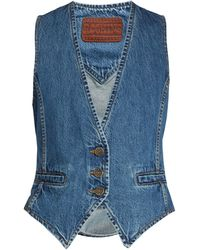 Rockins Slim-fit Denim Waistcoat - Blue