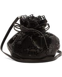Simone Rocha Laser-cut Flower Leather Bucket Bag - Black