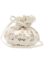 Simone Rocha Laser-cut Flower Leather Bucket Bag - White
