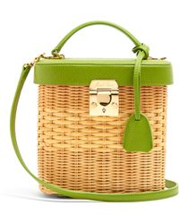 Mark Cross Benchley Rattan And Leather Shoulder Bag - Multicolour