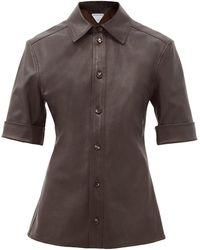 Bottega Veneta ポイントカラー レザーシャツ - ブラウン