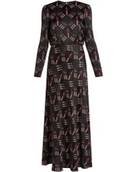 Valentino - Love Blade-print Satin-crepe Gown - Lyst