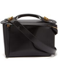 Sophie Hulme Sac à main rigide en cuir The Bolt - Noir