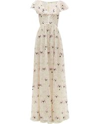 Giambattista Valli Floral-embroidered Chantilly-lace Tulle Gown - Multicolour
