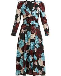 Erdem Annalee Floral-print Satin Dress - Blue